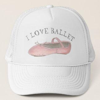 I Love Ballet Ballerina Pink Slipper Dance Teacher Trucker Hat