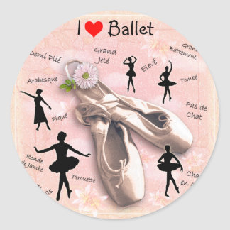 I love Ballet Classic Round Sticker