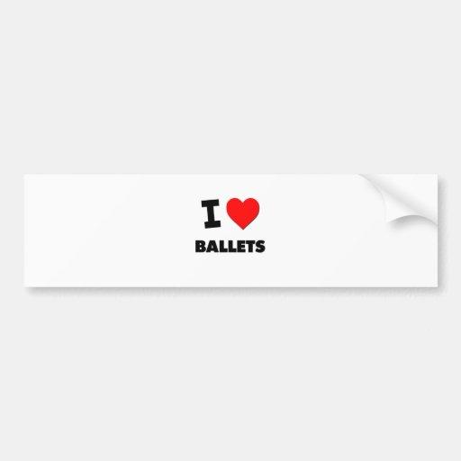 I Love Ballets Car Bumper Sticker