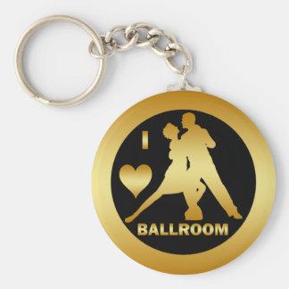 I LOVE BALLROOM BASIC ROUND BUTTON KEYCHAIN
