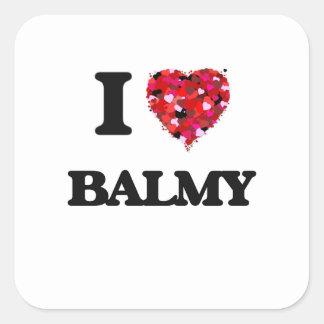 I Love Balmy Square Sticker
