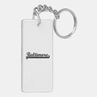 I love Baltimore Maryland Classic Design Double-Sided Rectangular Acrylic Keychain