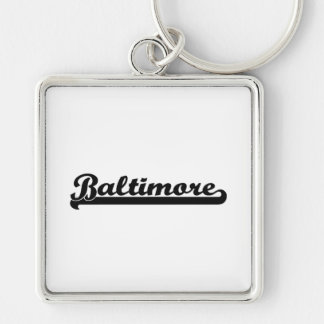 I love Baltimore Maryland Classic Design Silver-Colored Square Keychain