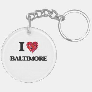 I love Baltimore Maryland Double-Sided Round Acrylic Keychain