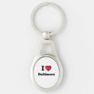 I love Baltimore Maryland Silver-Colored Oval Metal Keychain