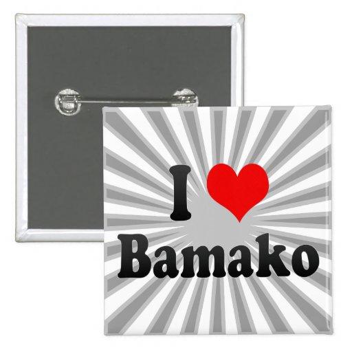 I Love Bamako, Mali 2 Inch Square Button