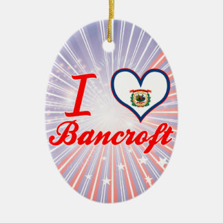 I Love Bancroft, West Virginia Double-Sided Oval Ceramic Christmas Ornament