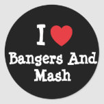 I love Bangers And Mash heart T-Shirt Stickers