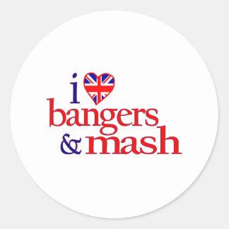 I Love Bangers And Mash Classic Round Sticker