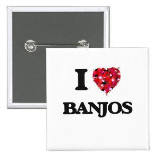 I Love Banjos 2 Inch Square Button