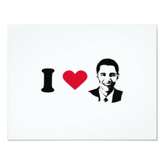 I Love Barack Obama T-shirt 4.25x5.5 Paper Invitation Card