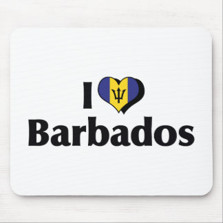 I Love Barbados Flag Mouse Pad