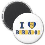 I Love Barbados Heart Flag Design 2 Inch Round Magnet