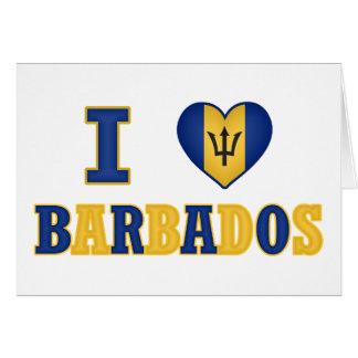 I Love Barbados Heart Flag Design Greeting Card