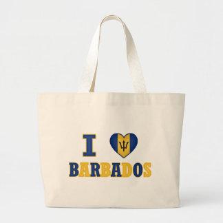 I Love Barbados Heart Flag Design Large Tote Bag