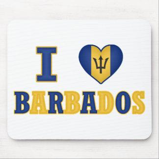 I Love Barbados Heart Flag Design Mouse Pad