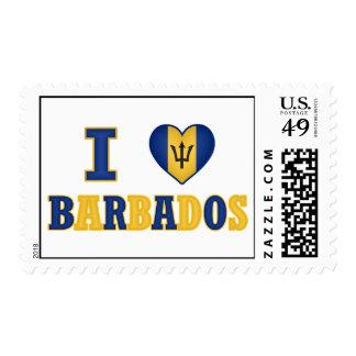 I Love Barbados Heart Flag Design Stamp