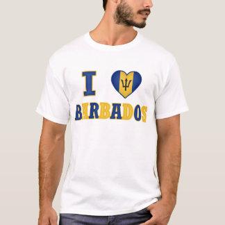 I Love Barbados Heart Flag Design T-Shirt