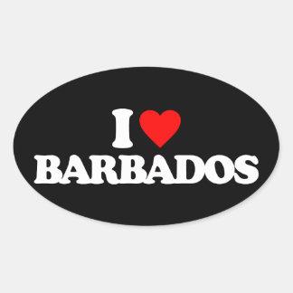 I LOVE BARBADOS OVAL STICKER