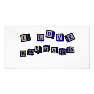 I love Barbara toy blocks in blue Customized Photo Card