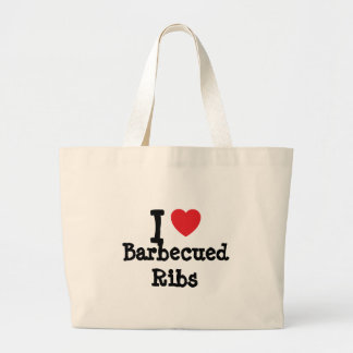 I love Barbecued Ribs heart T-Shirt Canvas Bags