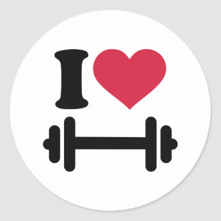 I love barbell dumbbell classic round sticker