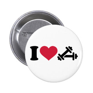 I love barbell dumbbell pinback button