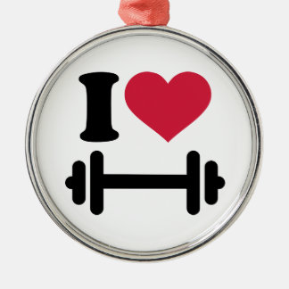I love barbell dumbbell round metal christmas ornament