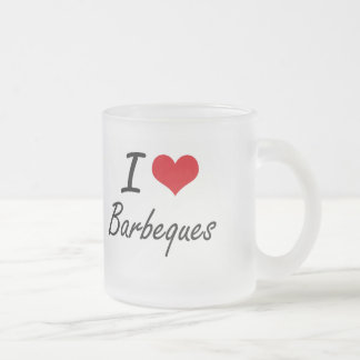 I Love Barbeques Artistic Design 10 Oz Frosted Glass Coffee Mug