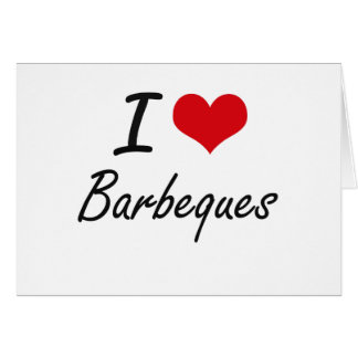 I Love Barbeques Artistic Design Stationery Note Card