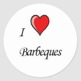 i love barbeques classic round sticker
