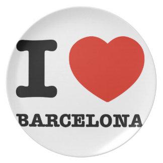 I Love Barcelona Dinner Plates