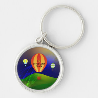 I Love Barcelona Spain Hot Air Balloon Silver-Colored Round Keychain