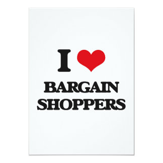 I Love Bargain Shoppers 5x7 Paper Invitation Card