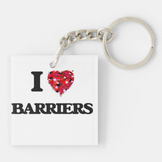 I Love Barriers Double-Sided Square Acrylic Keychain
