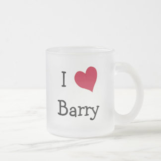 I Love Barry 10 Oz Frosted Glass Coffee Mug