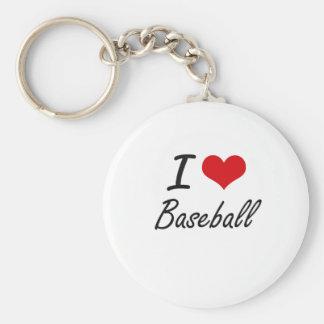 I Love Baseball Artistic Design Basic Round Button Keychain