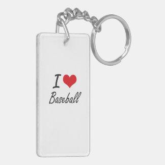 I Love Baseball Artistic Design Double-Sided Rectangular Acrylic Keychain