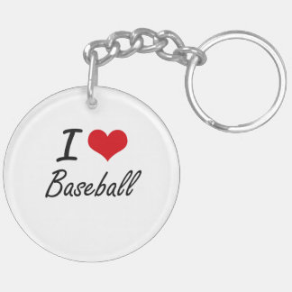 I Love Baseball Artistic Design Double-Sided Round Acrylic Keychain