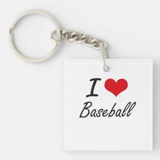 I Love Baseball Artistic Design Single-Sided Square Acrylic Keychain