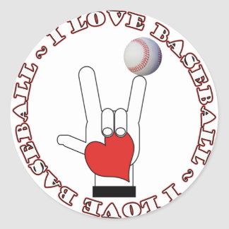 I Love BASEBALL ASL SIGN Classic Round Sticker