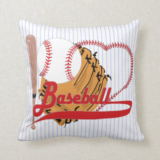 I Love Baseball - Ball, Bat, Baseball Glove Throw Pillow