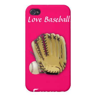 I Love Baseball-Baseball and Glove/Pink iPhone 4/4S Covers