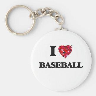 I Love Baseball Basic Round Button Keychain