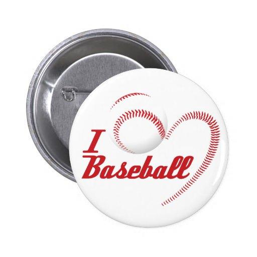 I Love Baseball Button