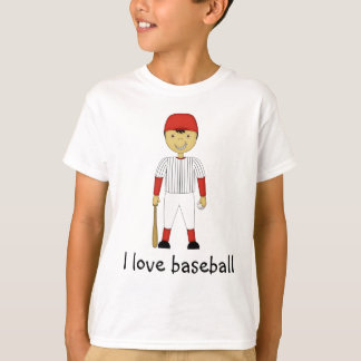 I Love Baseball Cartoon Character in Red Kit T-Shirt