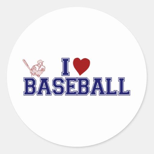 I Love Baseball Classic Round Sticker
