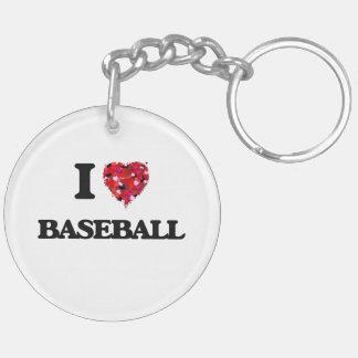 I Love Baseball Double-Sided Round Acrylic Keychain