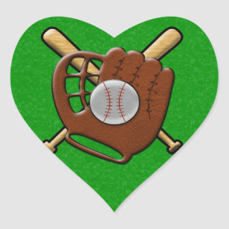I Love Baseball! Heart Sticker