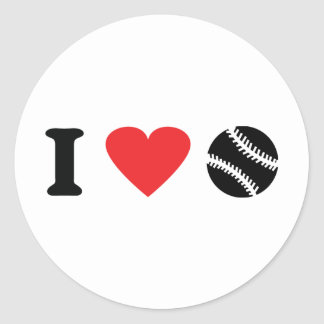 I love baseball icon classic round sticker